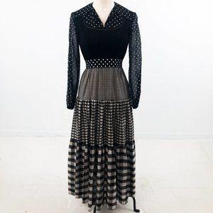 Vintage 70s S Prairie Check Print Maxi Dress Black